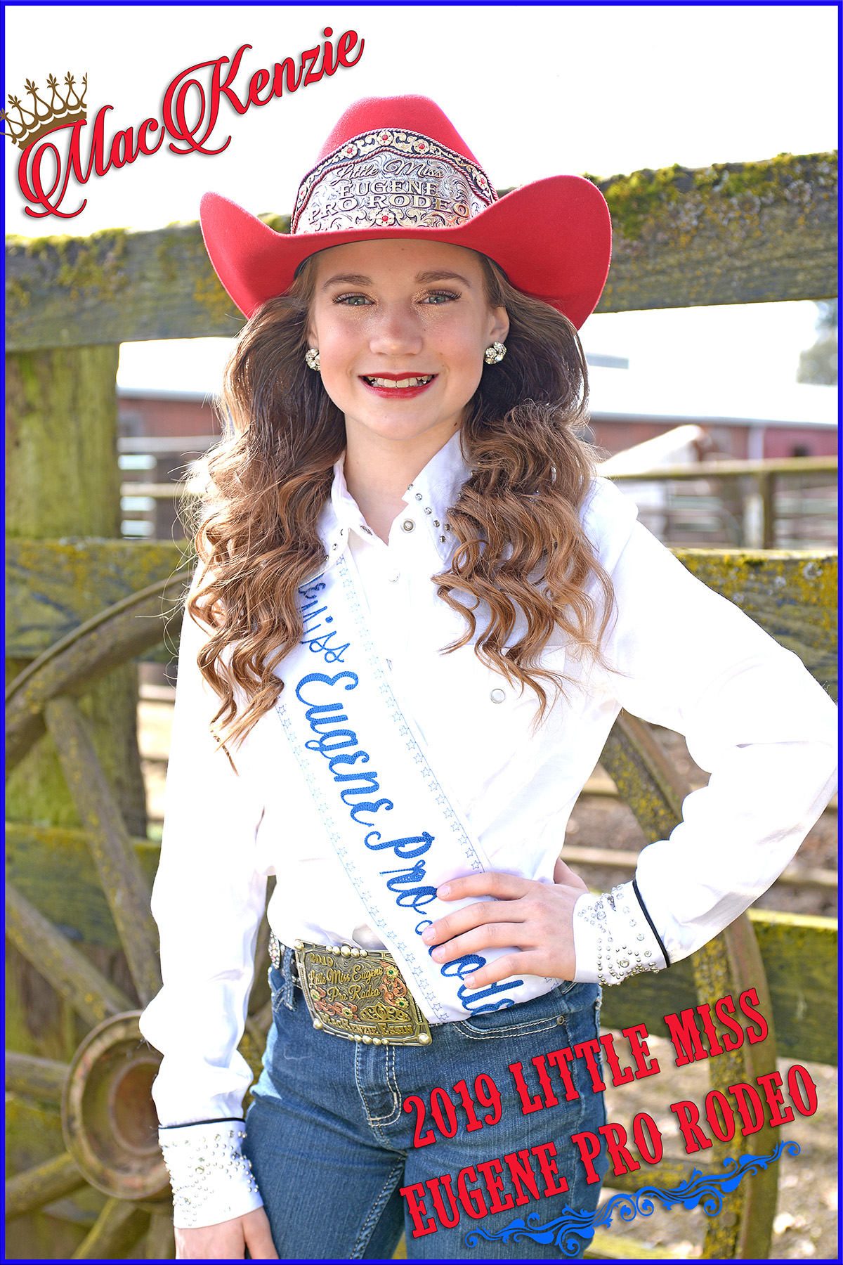 Little Miss Eugene - - MacKenzie Essin is the 2019 Little Miss Eugene Pro Rodeo. MacKenzie is a 12 year old that loves riding and everything about horses. She has been focused on horsemanship, public speaking, and rodeo skills all while working hard as a straight A middle school student. When she isn't dancing for the Sheldon Colleens or playing competitive soccer she is at the Rolling H Ranch helping her aunt and uncle with the horses. She wants to inspire girls and boys to chase their dreams and overcome adversity and is excited to be representing the Eugene Pro Rodeo