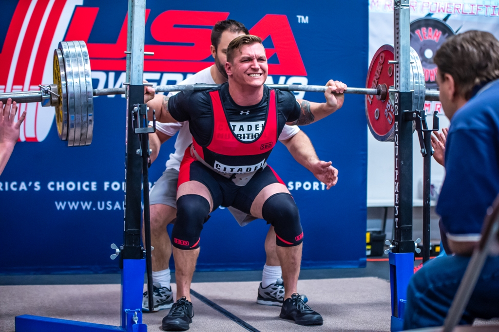 Citadel Nutrition Athlete Zack Miller squatting 572#