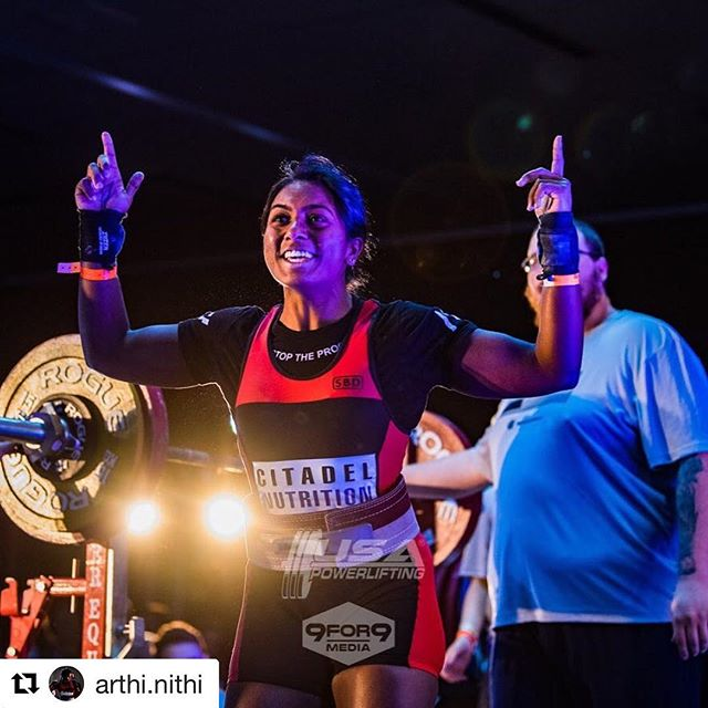 Congrats @arthi.nithi Your presence is elevating. Your accomplishments are inspiring. . . . #Repost @arthi.nithi ・・・ When peak season begins, 3 weeks out😈 #citadelnutrition #a7fitness #teamrohr #gtbbc #gtbarbell #georgiatech #deadlift #squat #bench #girlswhopowerlift #girlswholift #girlswithmuscle #powerliftingchicks #usapl #usapowerlifting #63kg #progress #peachgang #stallion #powerlifting #powerlifter