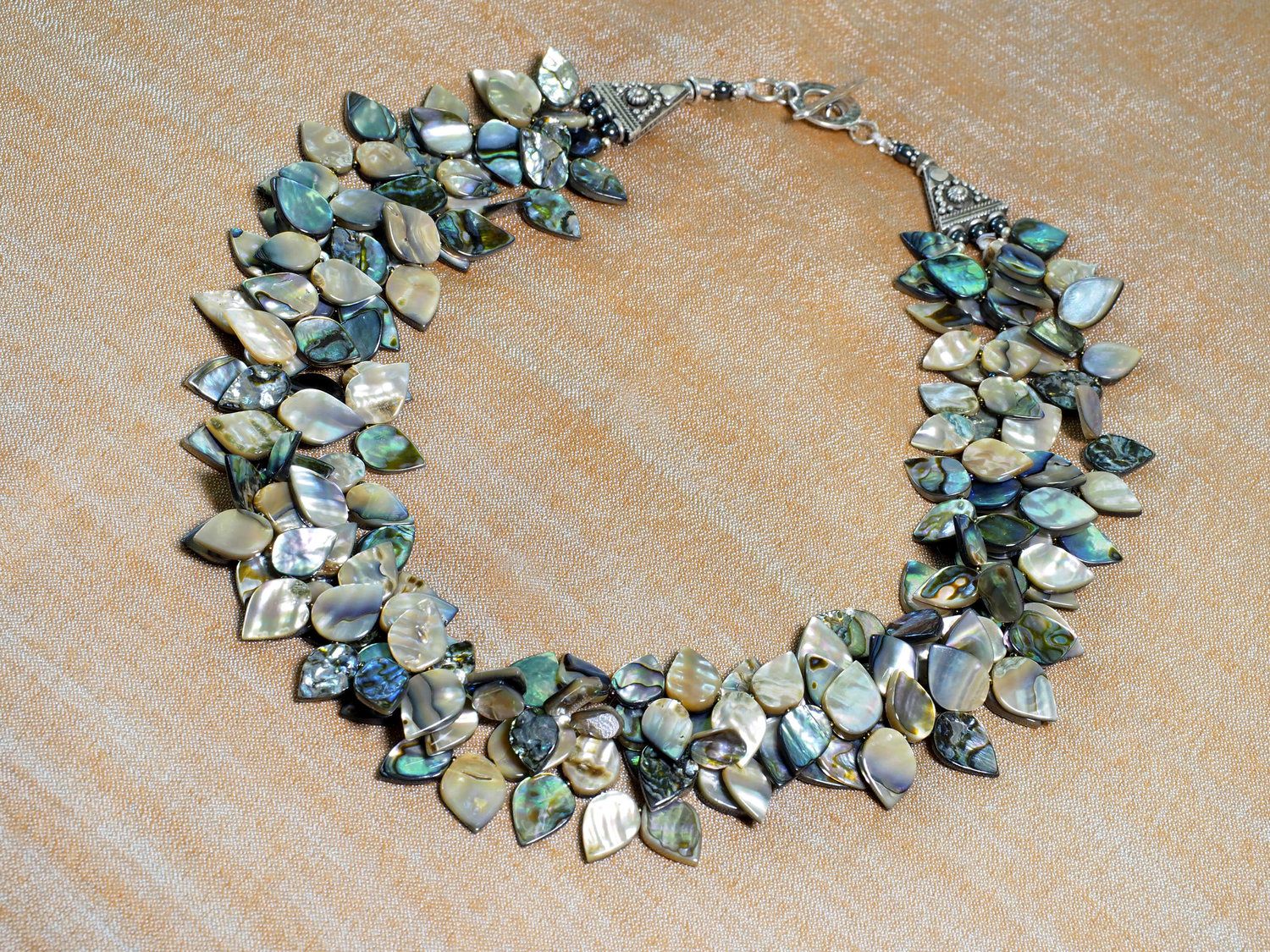 Triple strand abalone petal necklace