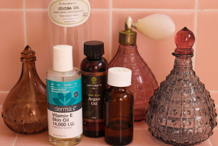 Oils you need: Argan, Rosehips, Jojoba, Vitamin E, and an essential oil for scent!