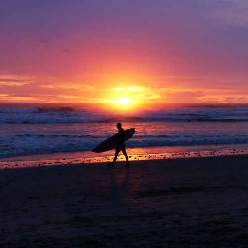 Taken with the new DSLR that I bought to step up my blog and yoga photo game! Sunset surfer in Santa Teresa, Costa Rica - October 2015.