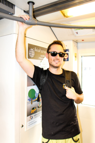 Pete on the Sky Train in Bangkok.