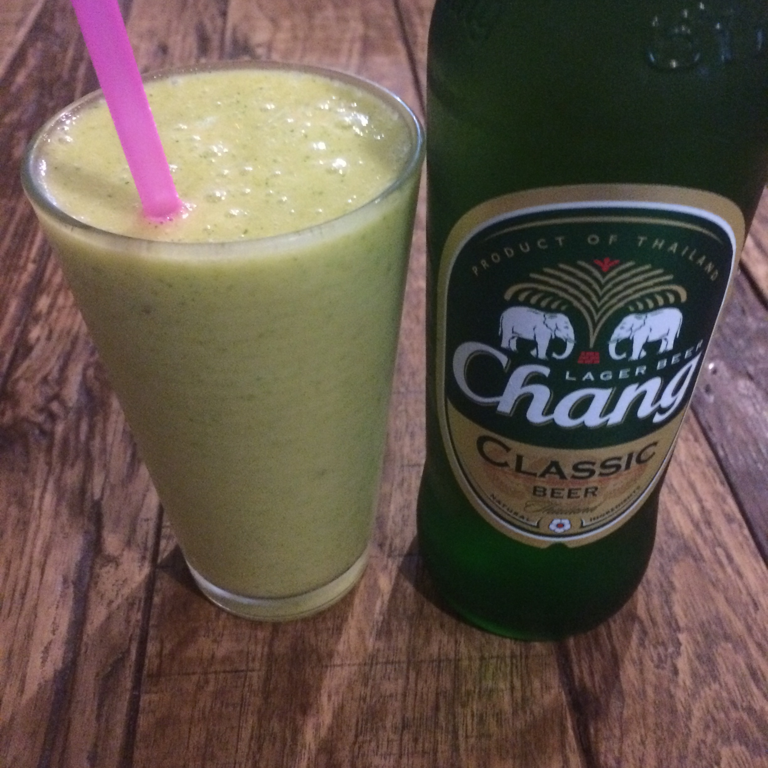 Beer and a smoothie with mint, pineapple, mango, and coconut.