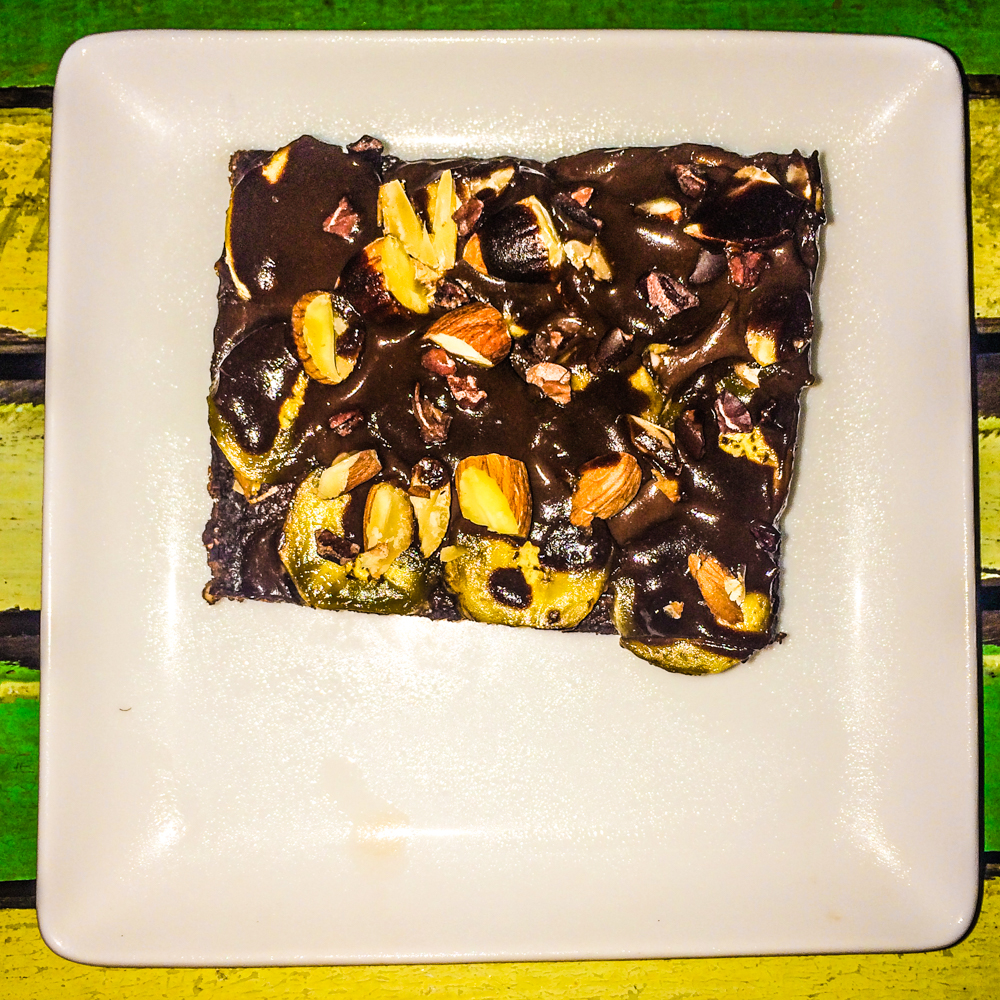 Vegan Flapjack dessert with chocolate, almonds, banana, and lots of other goodness!