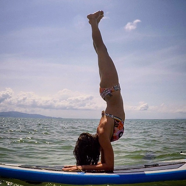 Forearm stand on the SUP. Feeling good!