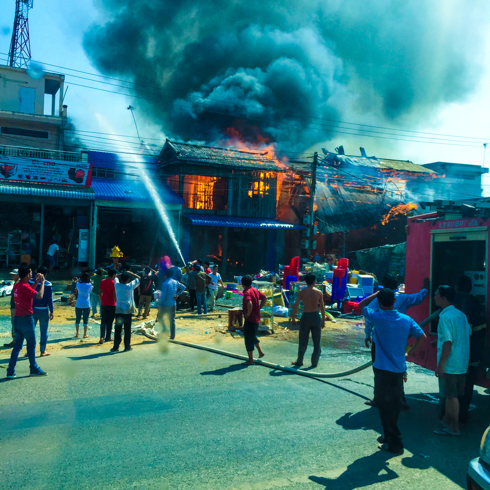 A devastating fire that we witnessed from the bus on the way to Sihanoukville. Many people were burning fake money and other valuables as a gesture for their deceased loved ones on Chinese New Years.
