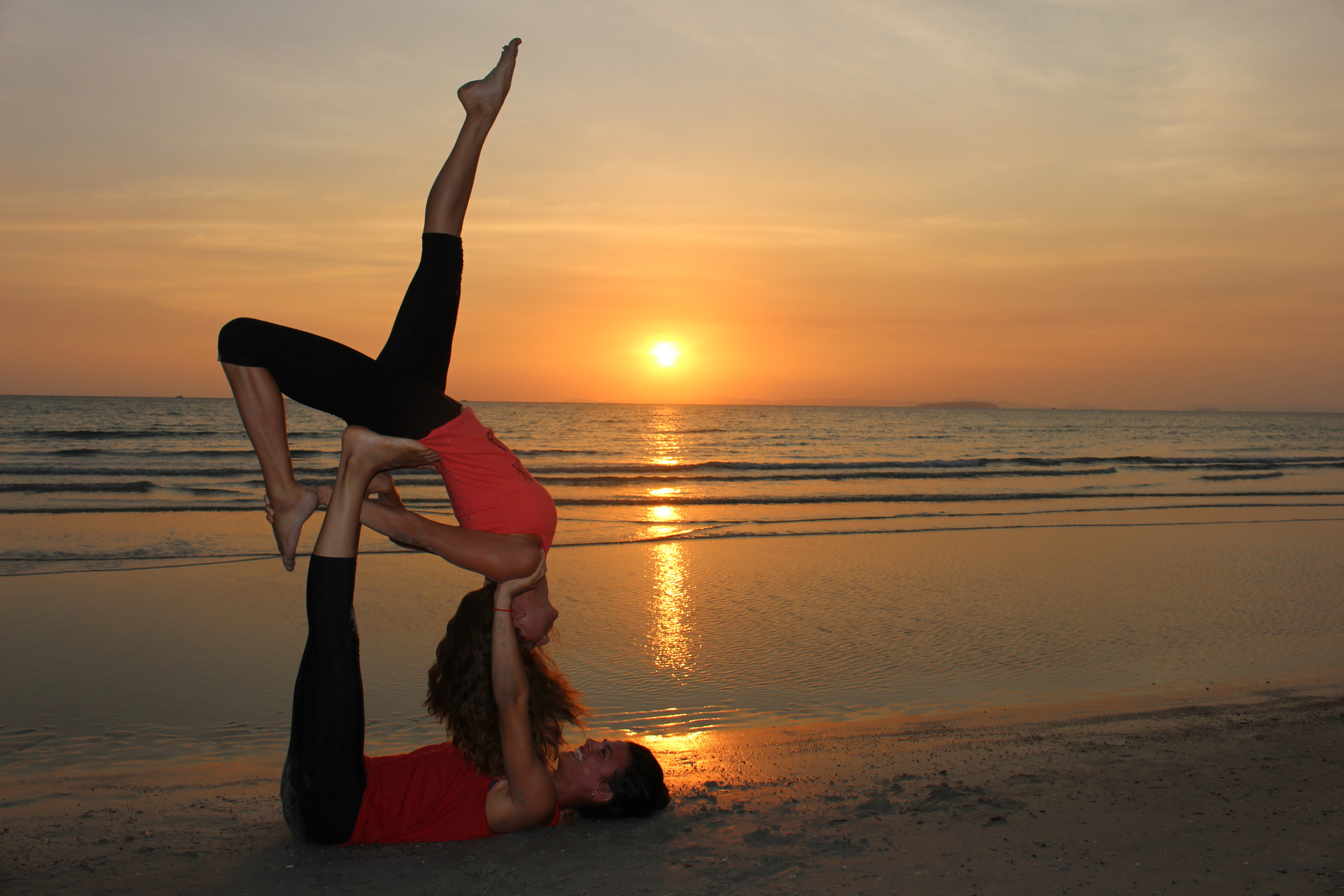 AcroYoga was offered one of the days at  Vagabond Temple . Justine and I played with some poses on the beach afterwards.