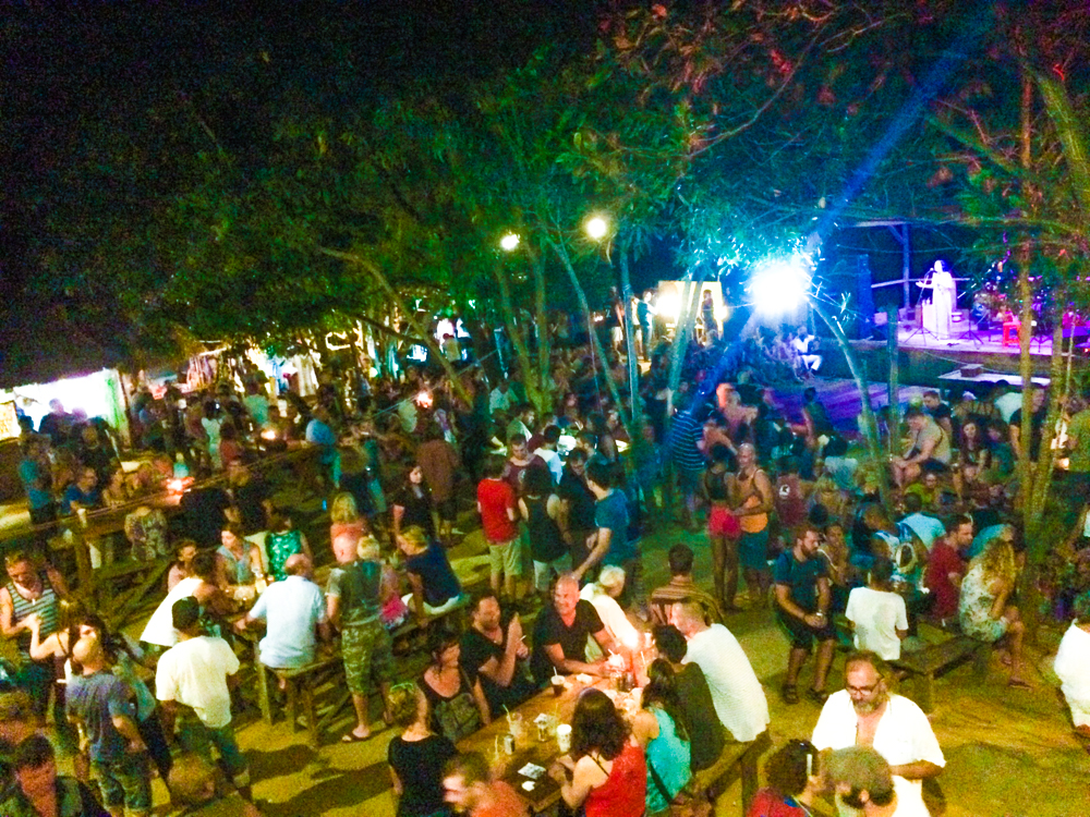 A birds-eye view of Otres Beach Night Market on Saturday nights.