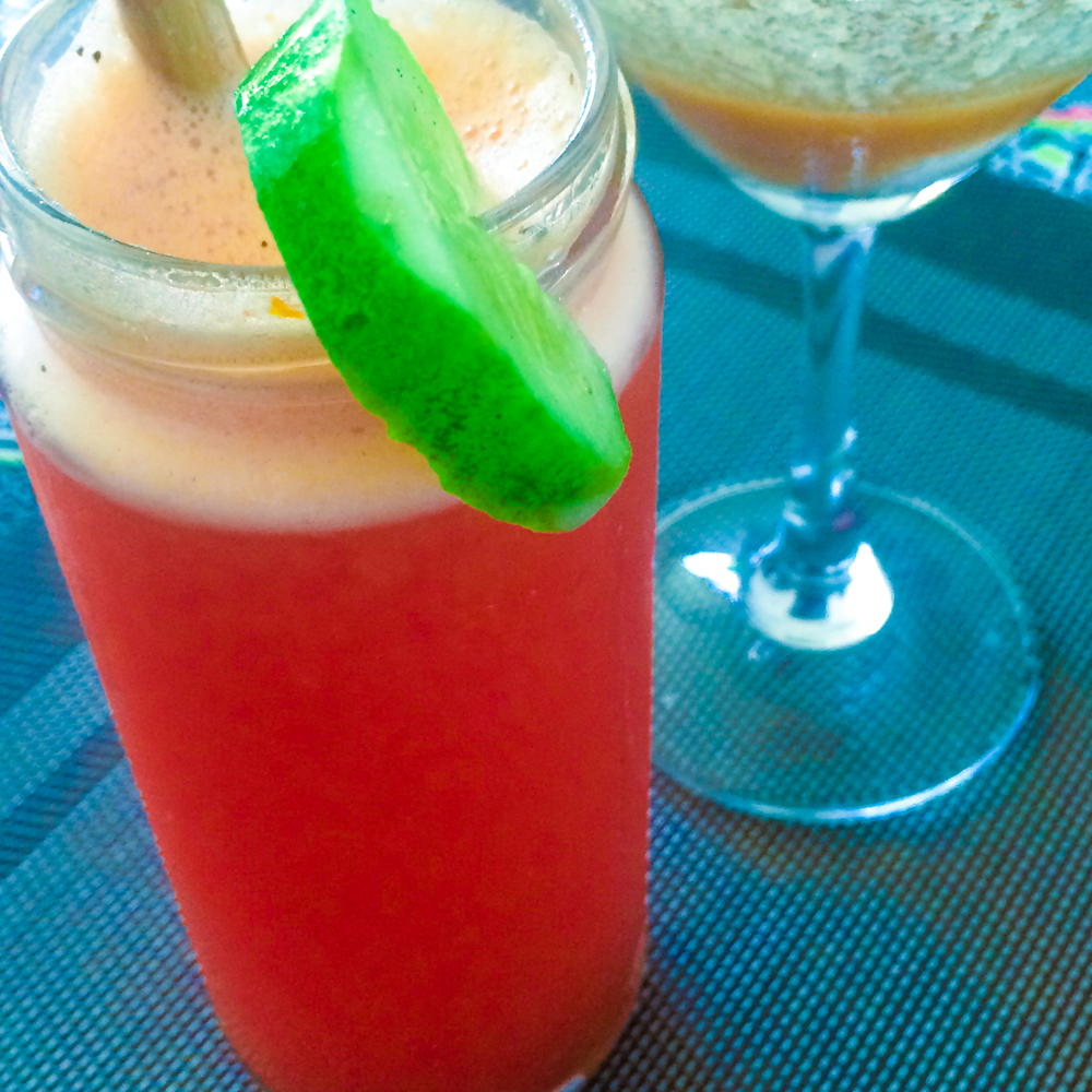 Bloody Red Pepper Maria - Tequila, tomato, bell pepper & tabasco. Tamarind Kaffir Lime Margarita - Tequila, tamarind & fresh kaffir lime blended with ginger. Cheers!