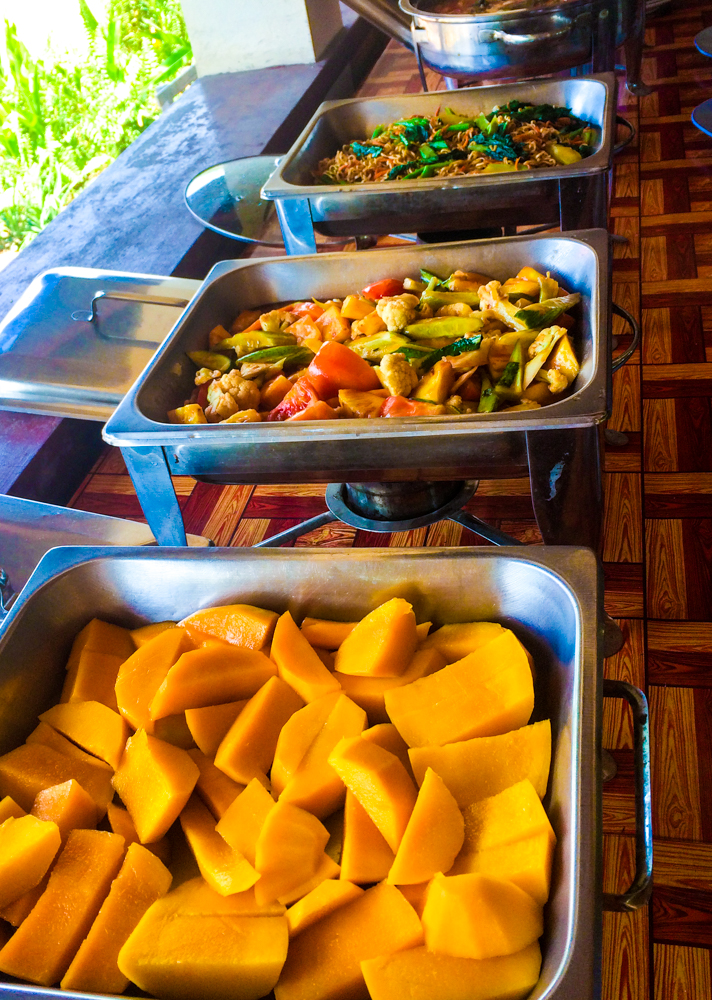 Curry, Noodles, Sweet-n-sour vegetables, and mangos were on the menu at Elephant Nature Park in Cambodia.