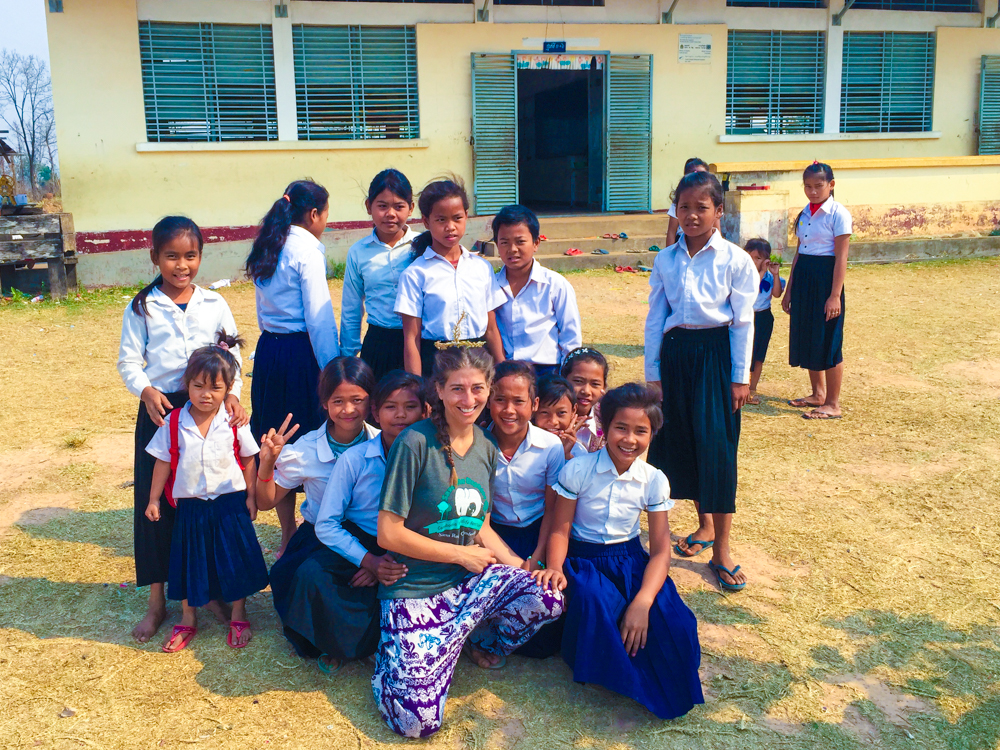 The girls from the elementary school in Cambodia.