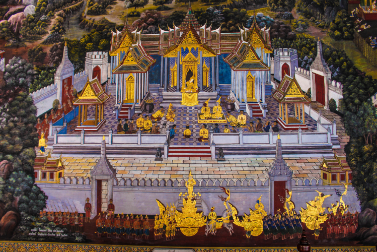 A piece of the amazing mural painting at the Grand Palace.