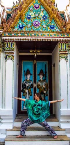 Warrior 2 seemed appropriate against this cool doorway depicting Thai warriors.