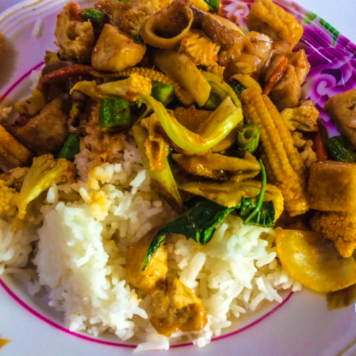 Spicy curry from Mr. Yim's Vegetarian stand.