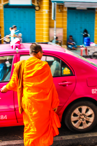 Modern monk on the move.