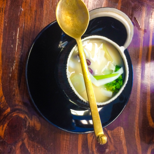 Vegan Tom Kha soup from Mango Restaurant in Bangkok.