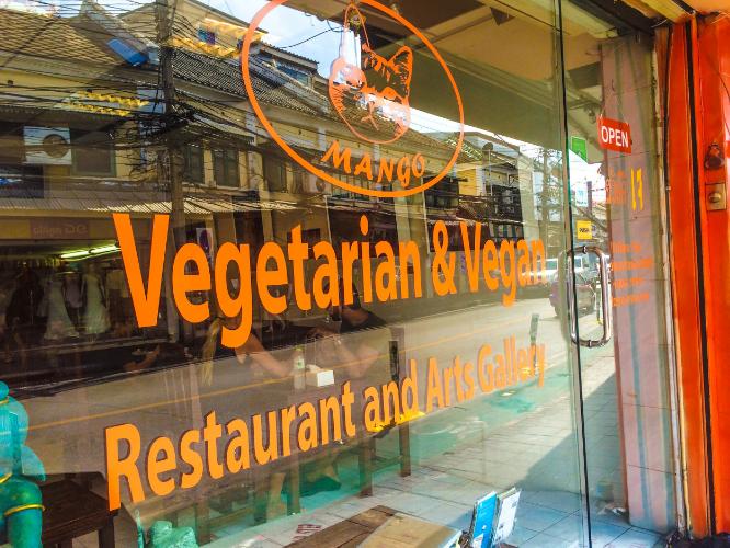 The outside of Mango Vegan & Vegetarian Restaurant in Bangkok, Thailand.