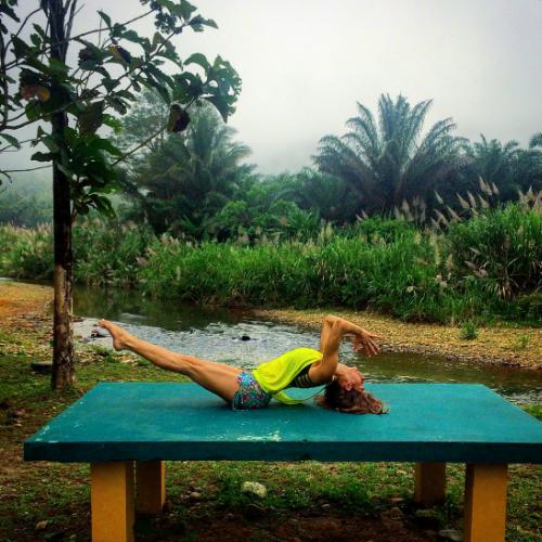 Yoga high after leading students through a sunrise vinyasa yoga flow.