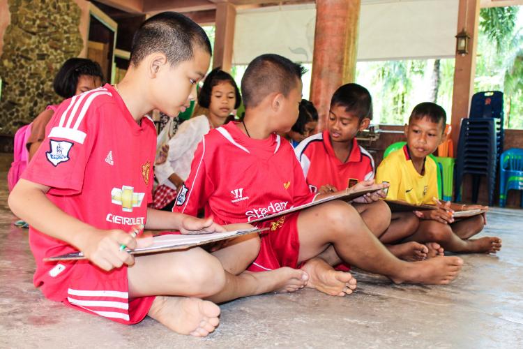 The kiddos learn English in Saturday Creative School at TCDF.