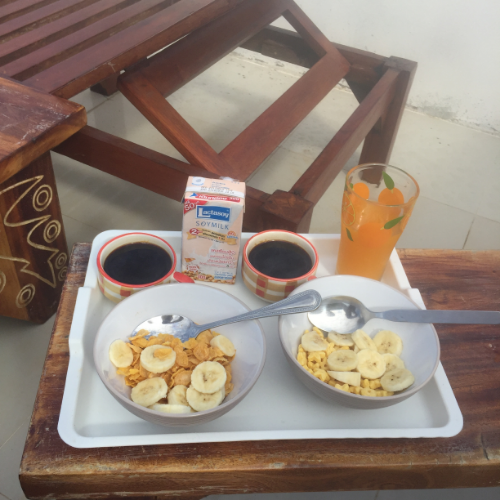 Our breakfasts in Phuket consisted of cornflakes and bananas since nothing is open in the mornings where we were.