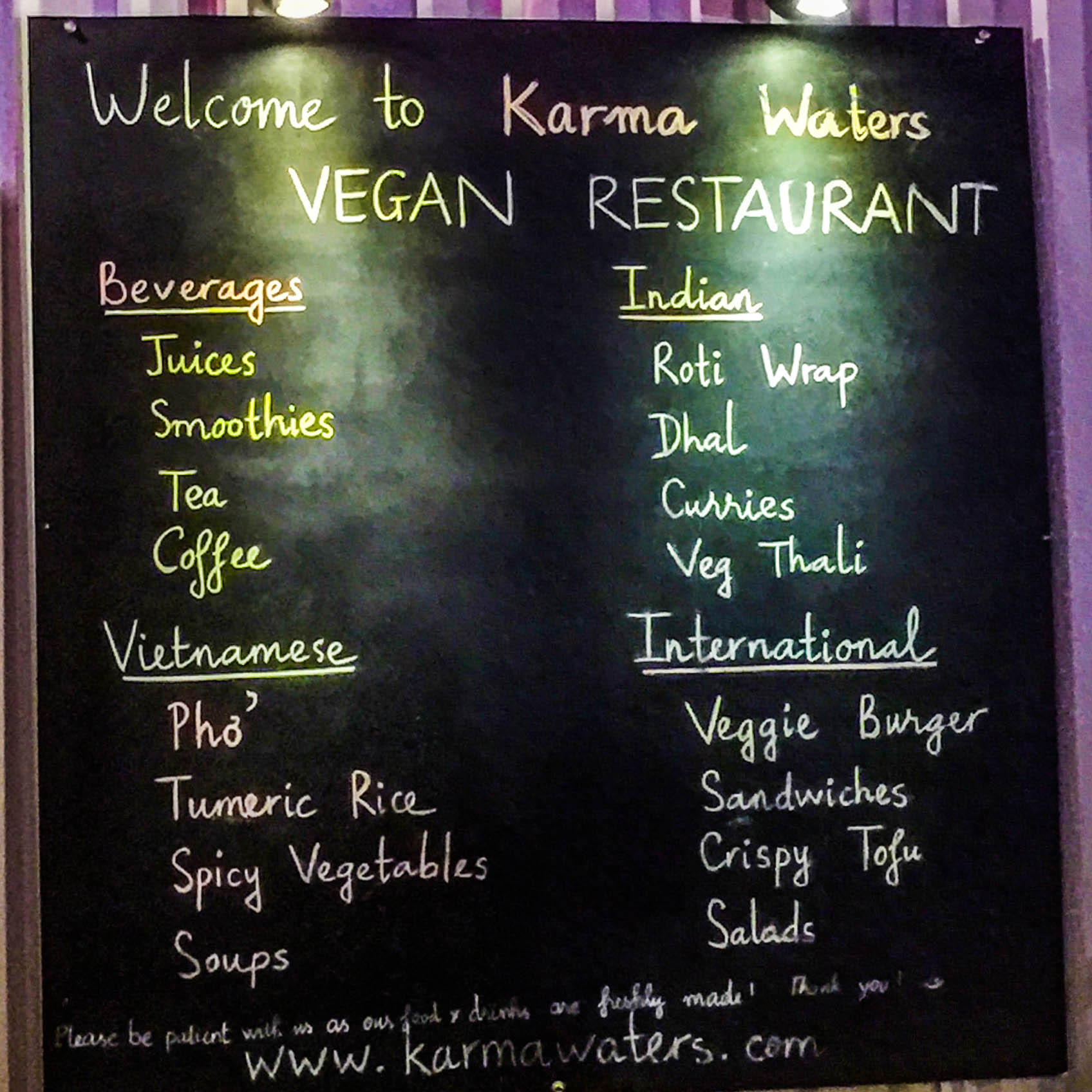 Menu board at Karma Waters!