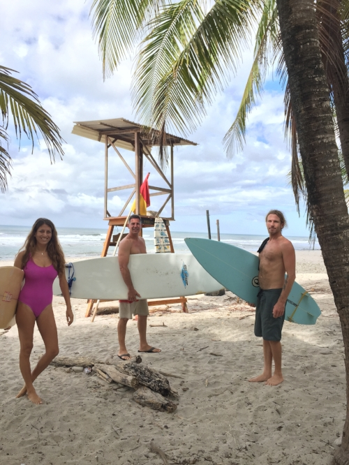 Heading out for a surf with out retreat guest Rob at Playa Carmen, Costa Rica! It was small and fun with clean conditions!