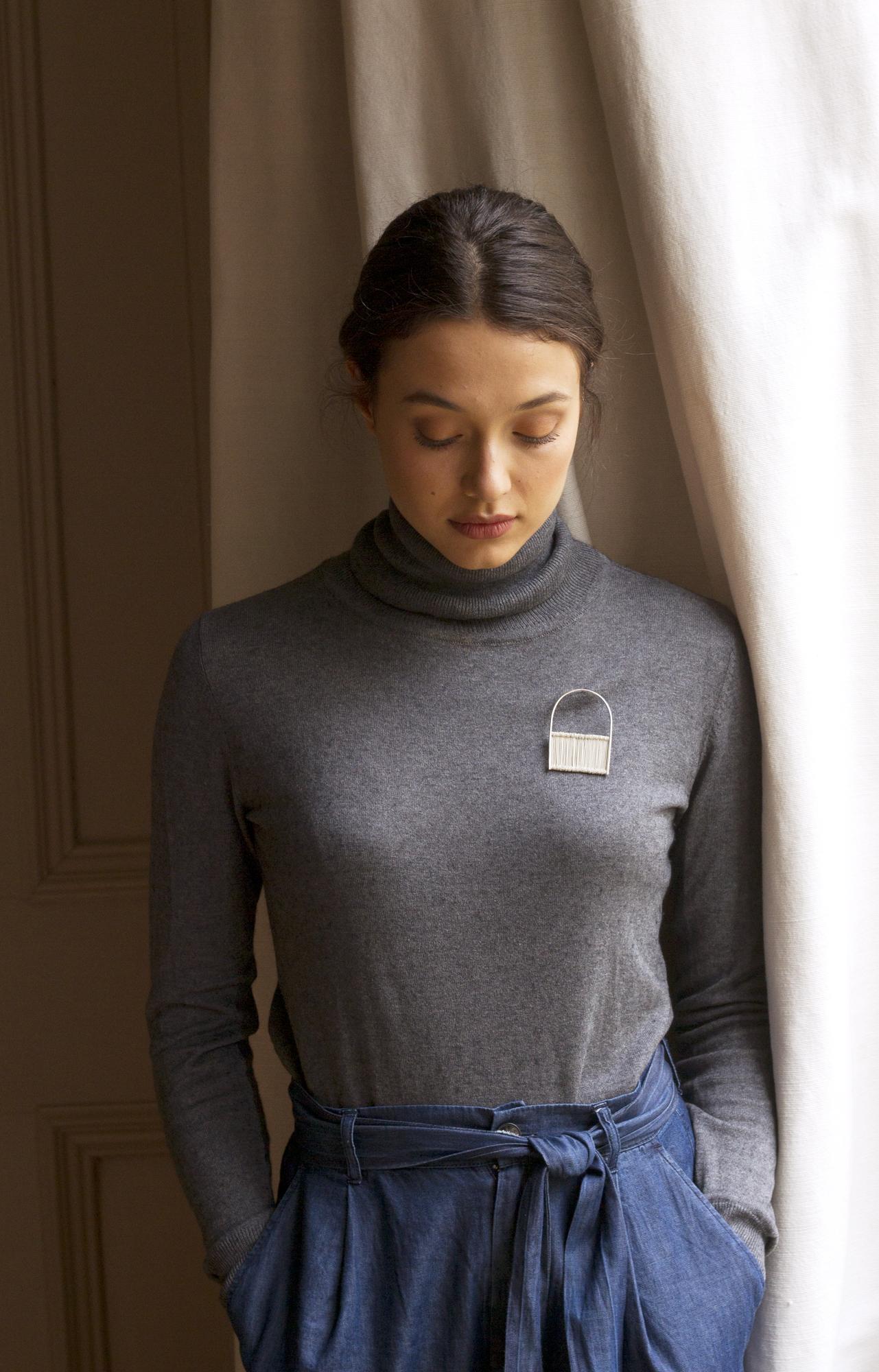HEADLE pin in silver Photography -Katariina Yli-Malmi Model - Chiara Biscontin MUA - Shelley Yadav