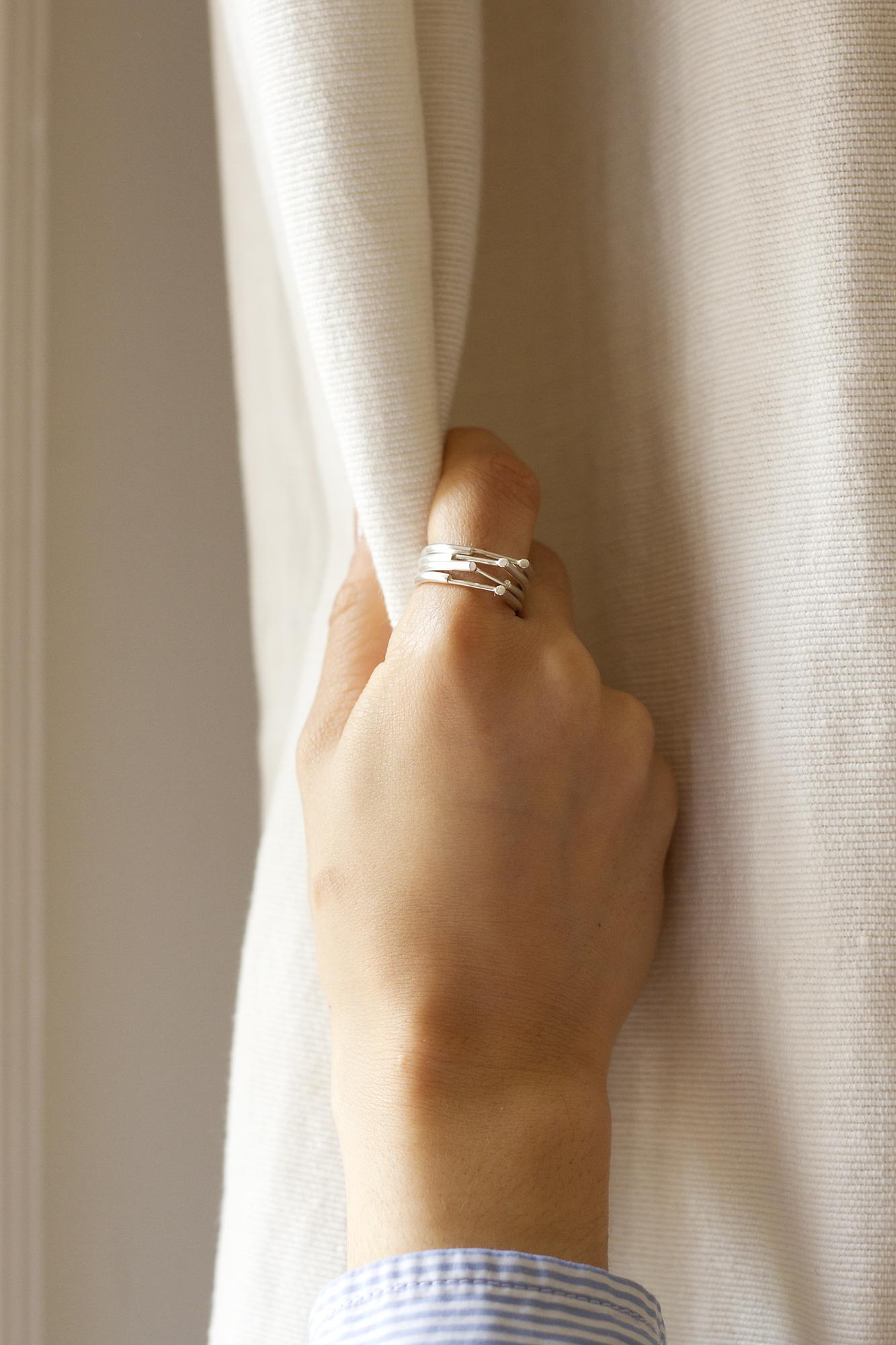 NOOK rings  in silver Photography -Katariina Yli-Malmi Model - Chiara Biscontin MUA - Shelley Yadav