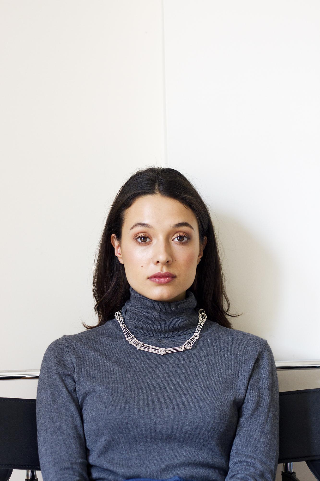 INKLE neckpiece in silver Photography -Katariina Yli-Malmi Model - Chiara Biscontin MUA - Shelley Yadav