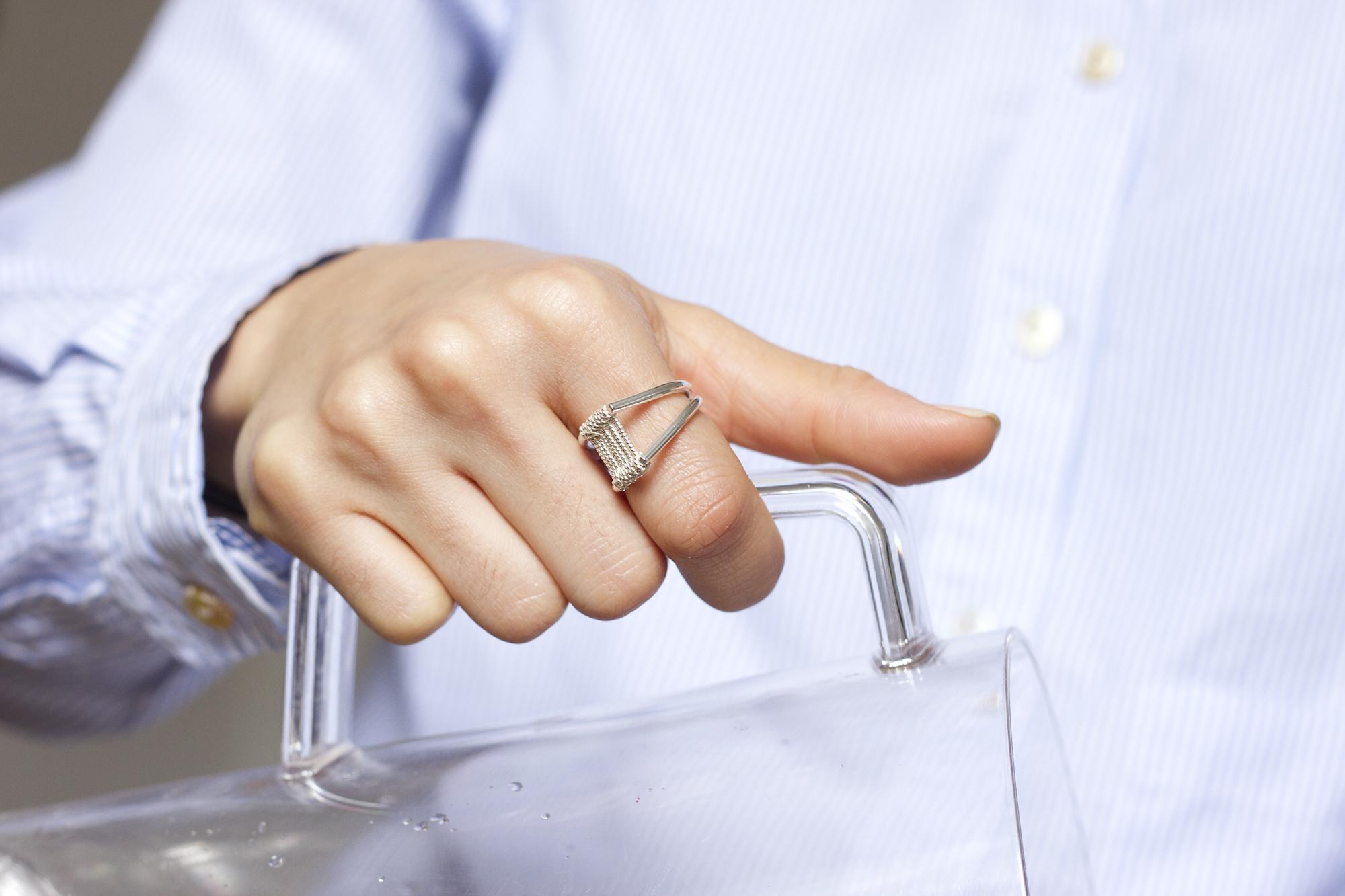 INCLINE ring  in silver Photography -Katariina Yli-Malmi Model - Chiara Biscontin MUA - Shelley Yadav