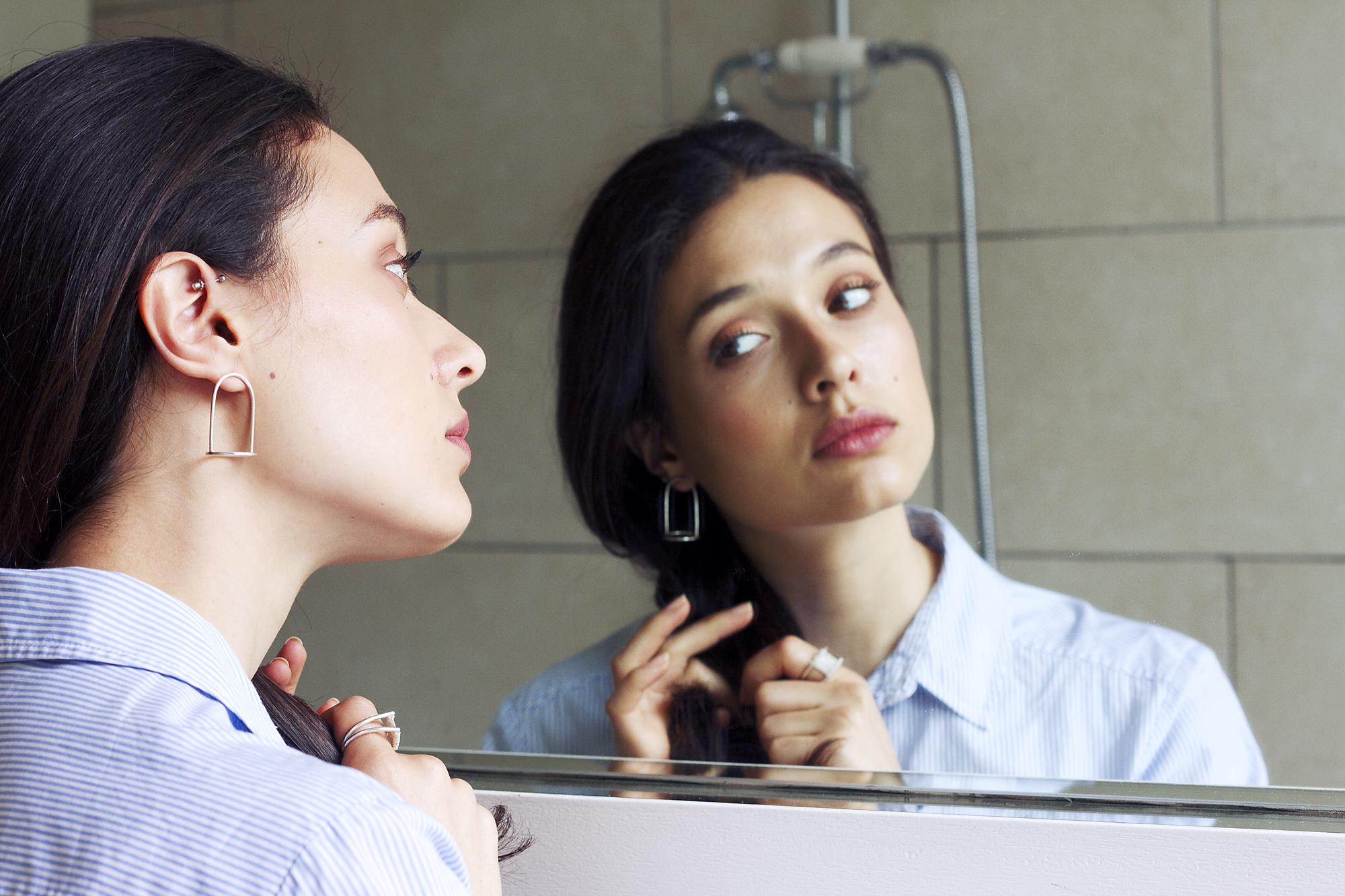BELL JAR  earrings  in silver Photography -Katariina Yli-Malmi Model - Chiara Biscontin MUA - Shelley Yadav