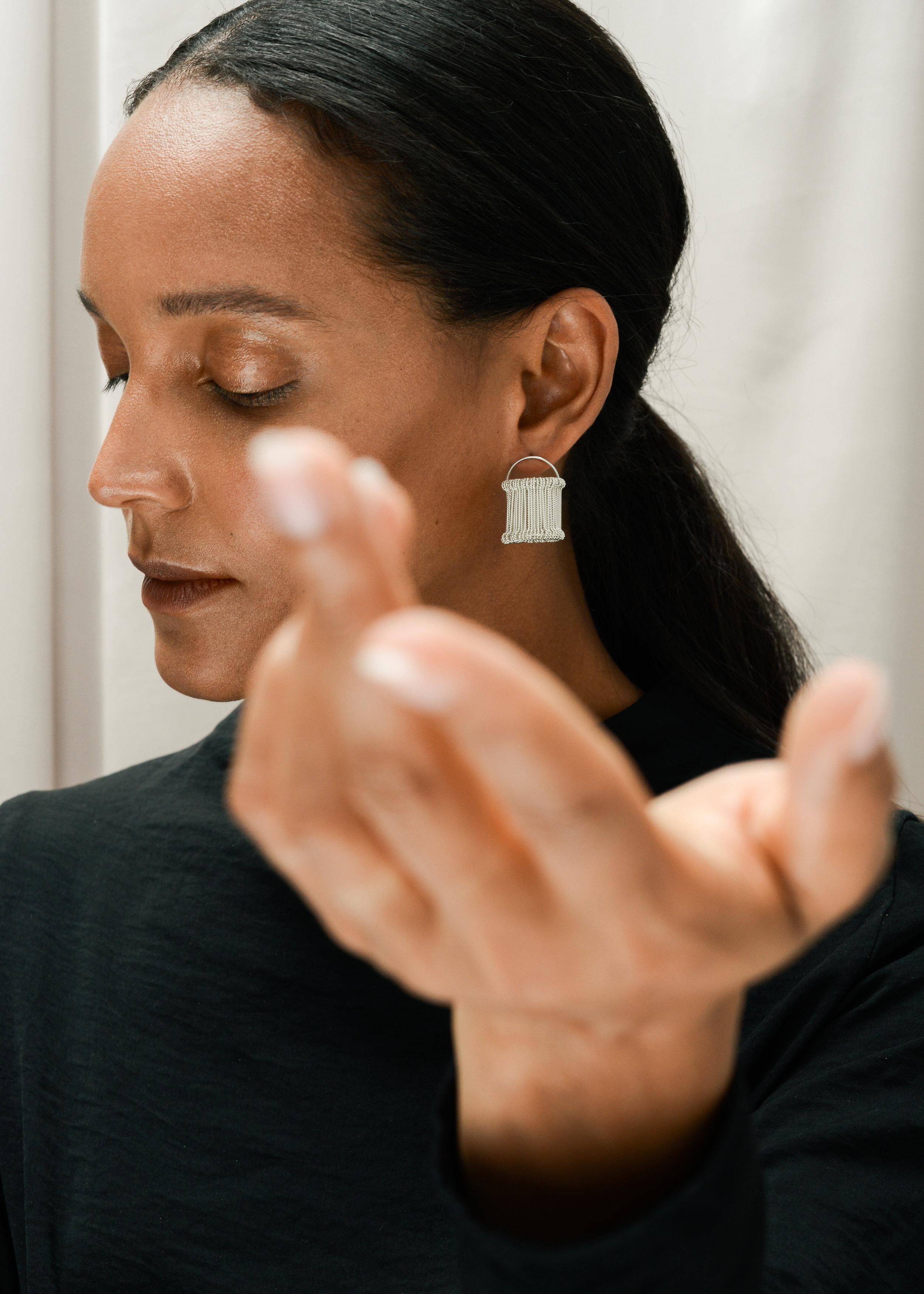 HEDDLE EARRINGS  in sterling silver Photography -  Stark Studio  Model -  Dieny Itoe  MUA -  Shaun Lavender