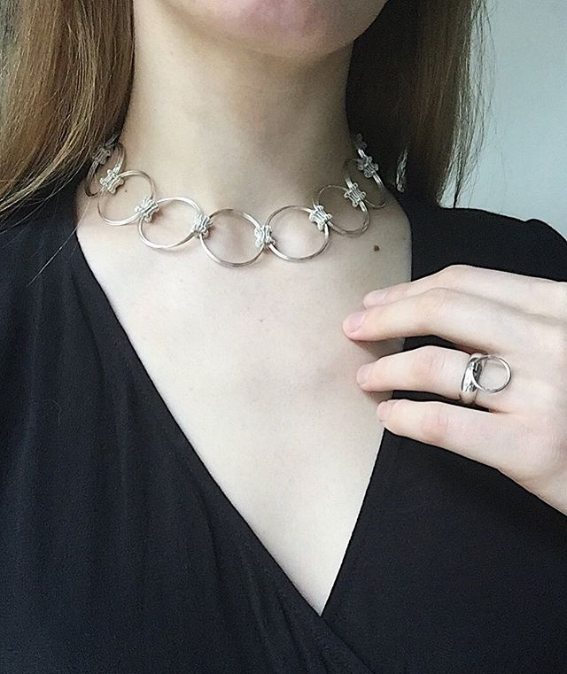 A new Art Teacher collar on show in Art to Wear @lilylunauk for the duration of the Edinburgh Fringe Festival ✨ thanks to @suakvile for the elegant picture, featuring her as the model and her ring!