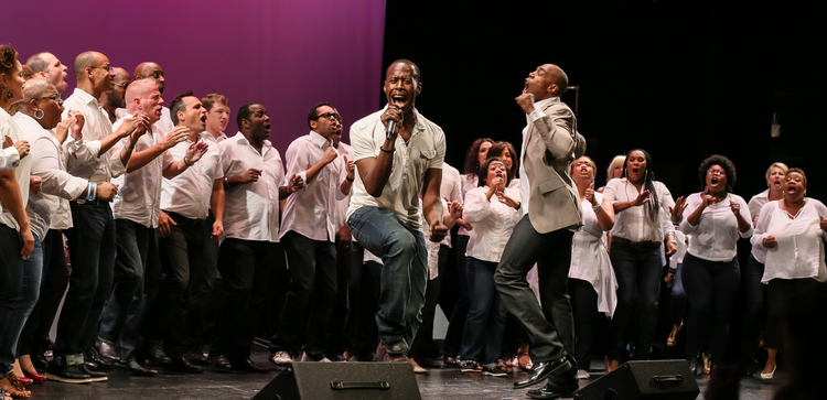 MICHAEL MCELROY & THE BROADWAY INSPIRATIONAL VOICES, FEATURING MARCUS PAUL JAMES  Photo Credit: Lee Wexler