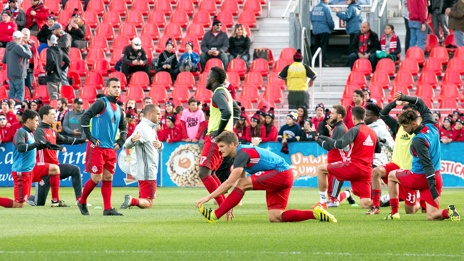 Toronto FC stretching before their final match of the 2016 MLS season.