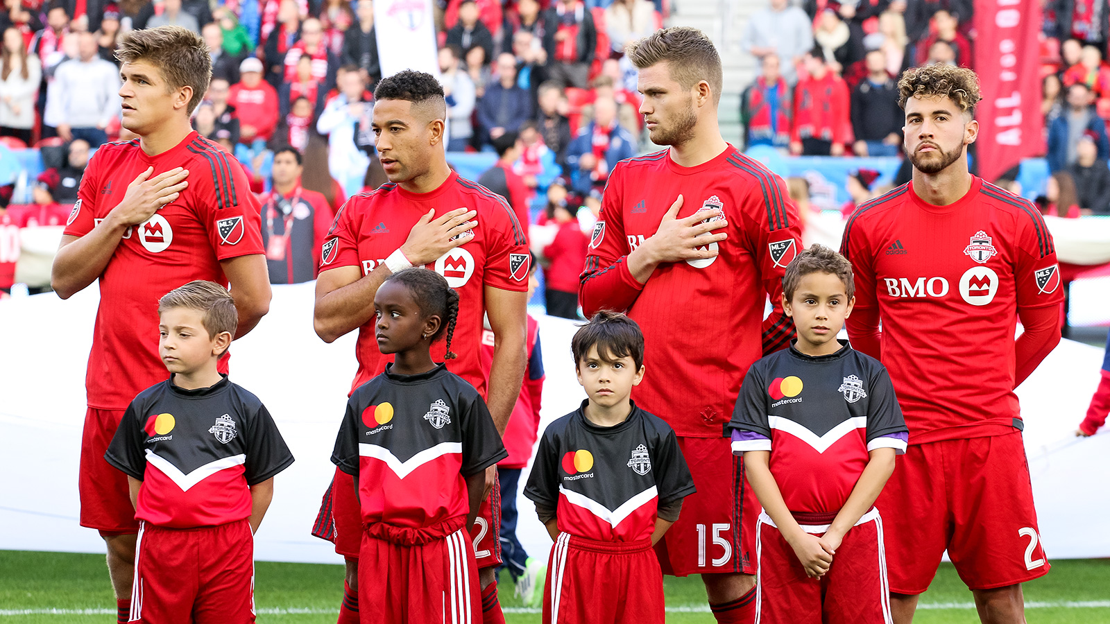 Toronto FC players during the national anthem.
