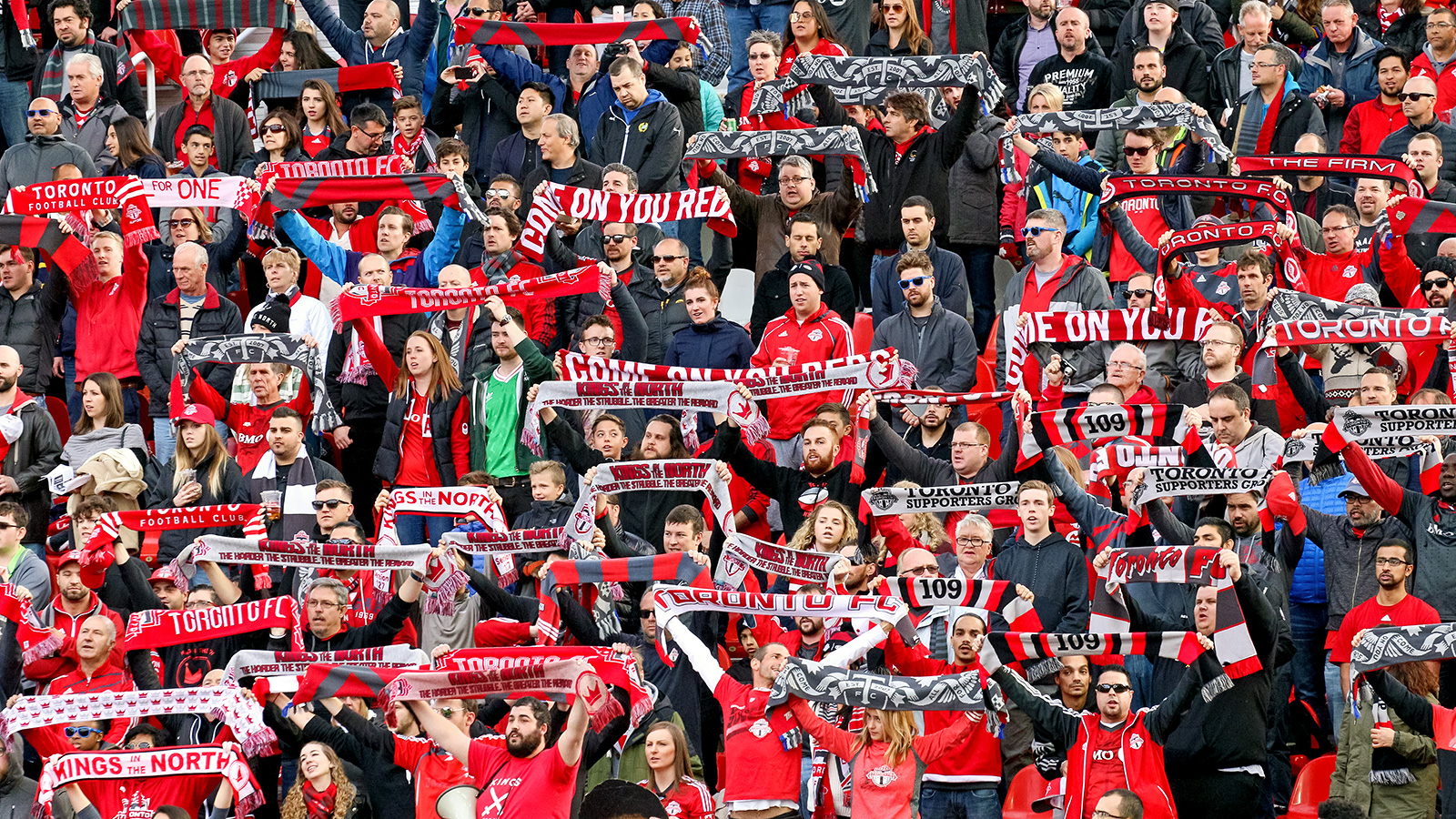 Toronto FC fans showing their support during the national anthem.