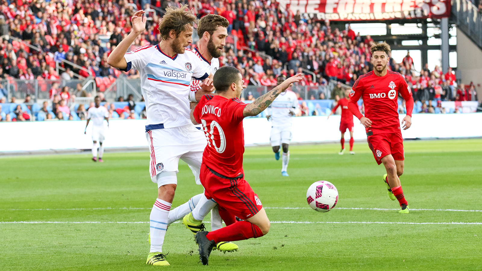Giovinco being challenged to the ground part one.