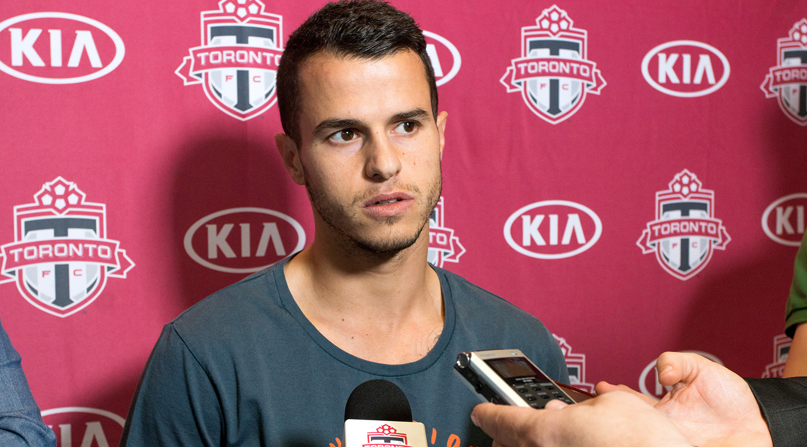 Toronto FC's Sebastian Giovinco answer questions from the media during the 2016 TFC Playoff Press Conference.Photo by Dennis Marciniak