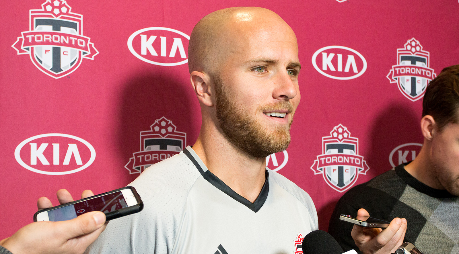 Michael Bradley taking questions during a media scum about the 2016 MLS Playoffs.Photo by Dennis Marciniak