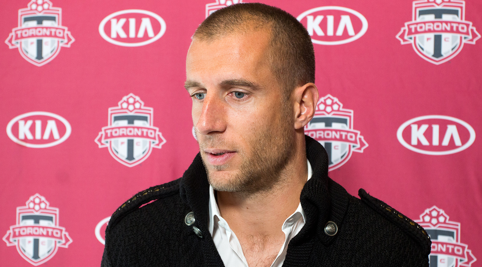 Benoît Cheyrou answer questions about the upcoming 2016 MLS Playoffs.Photo by Dennis Marciniak