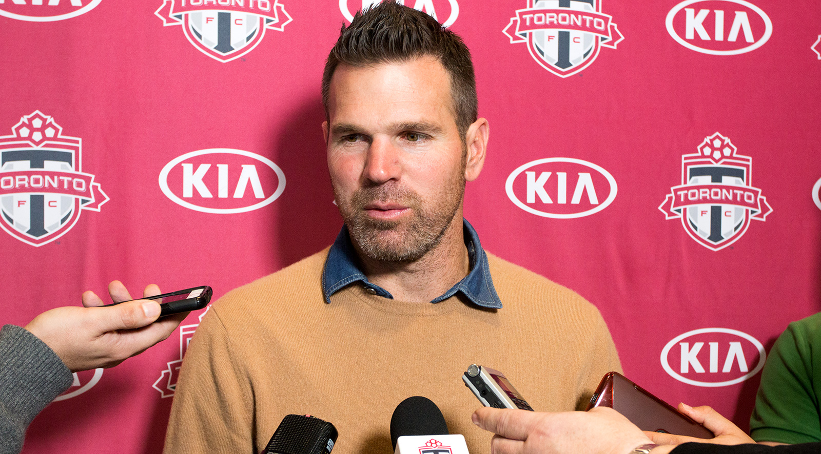 Head Coach Greg Vanney answering questions about his sleeping habits the night following the final match of the 2016 MLS season. Photo by Dennis Marciniak.