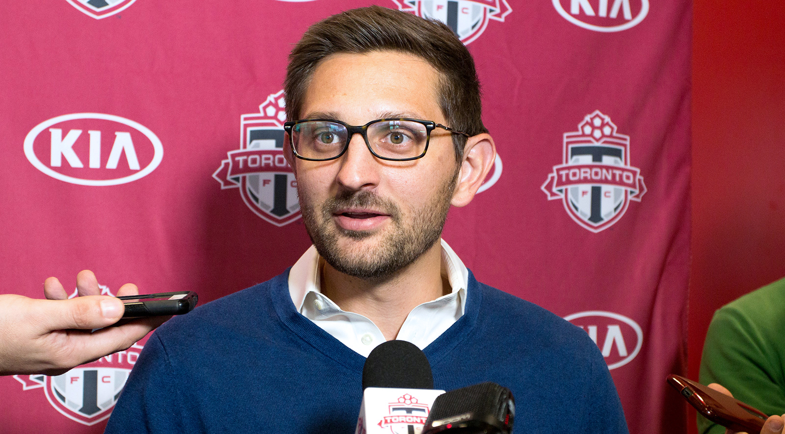 Toronto FC General Manager Tim Bezbatchenko sspeaking about the upcoming hopes for the 2016 MLS Playoffs.Photo by Dennis Marciniak