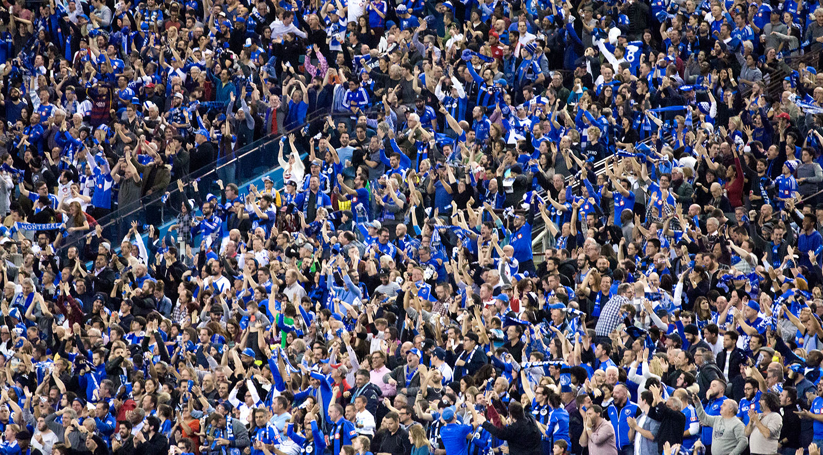 61000 fans packed the Olympic Stadium in Montreal for the first leg of the MLS Eastern Conference Final. Image by Dennis Marciniak of denMAR Media.