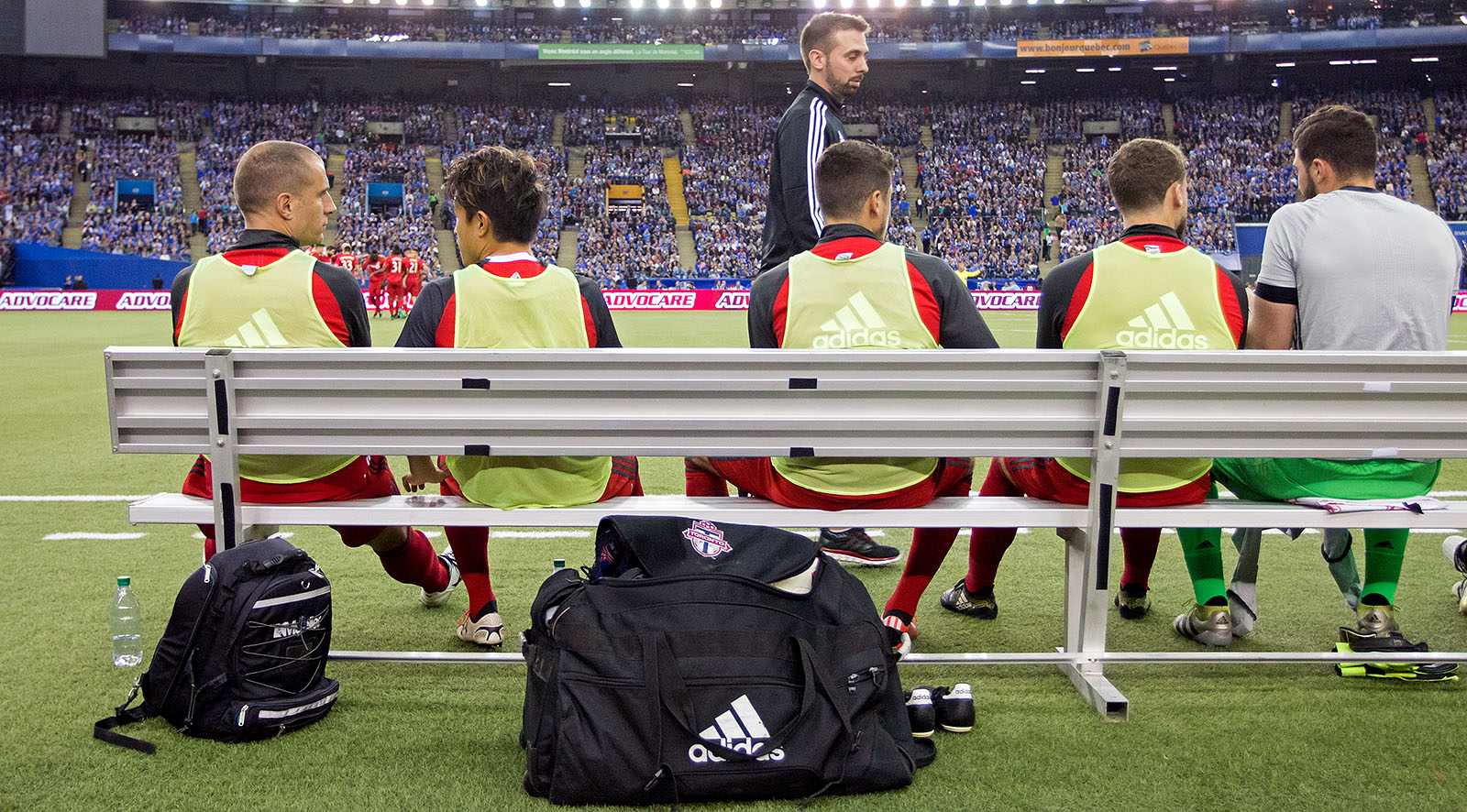 Toronto FC substitution bench during a 2016 MLS Cup playoff game in Montreal on November, 22, 2016.