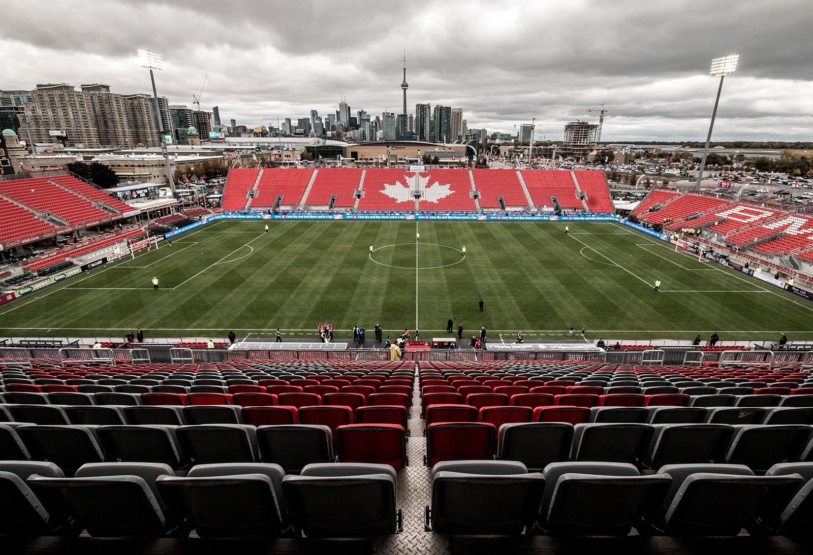View of BMO Field in Fall of 2014 with a beautiful Toronto Skyline in the background. Image by Dennis Marciniak of denMAR Media.