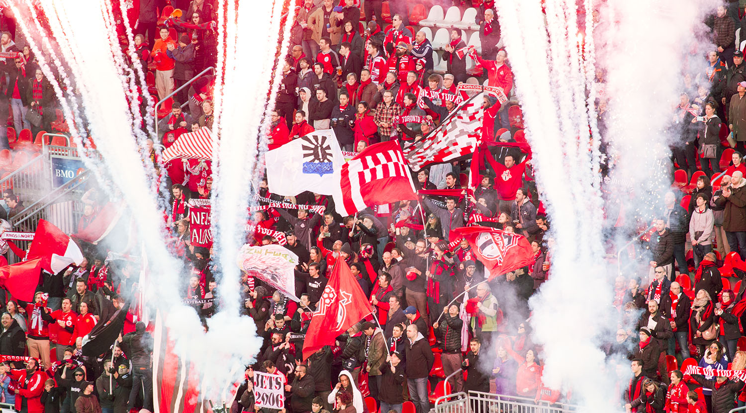 Fireworks shower the South End Supporters section at BMO Field on April 8, 2017. Image by Dennis Marciniak of denMAR Media.