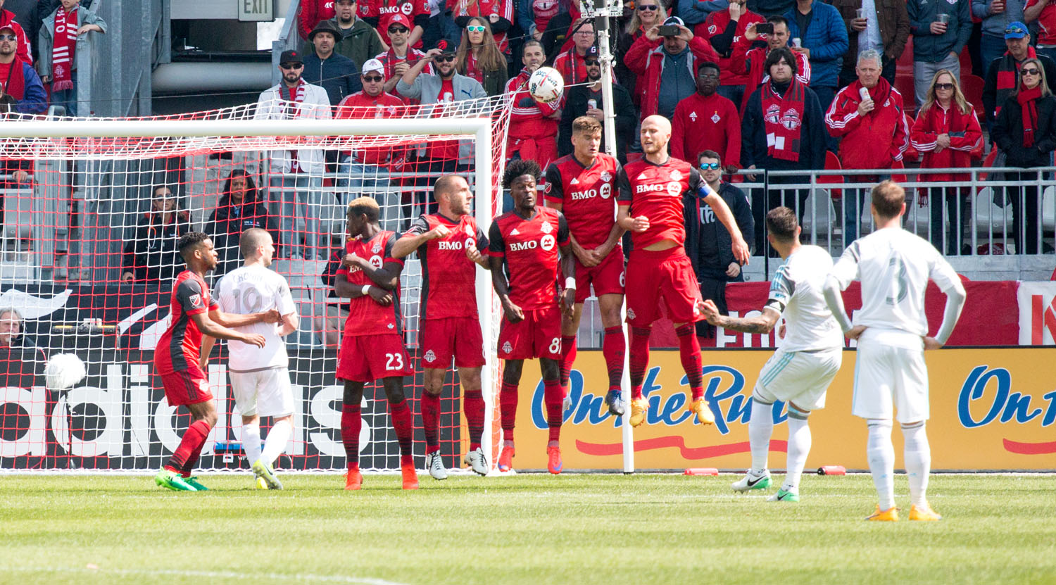Toronto FC makes a defensive wall during a free kick from Minnesota United FC on May 13, 2017.