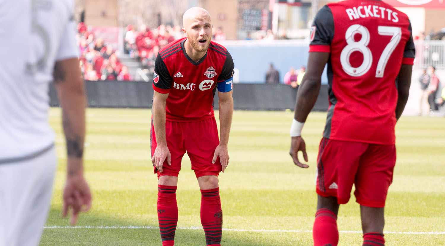 Michael Bradley in disbelief after a very close chance on goal by a Toronto FC teammate.Image by Dennis Marciniak of denMAR Media.